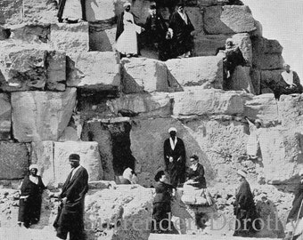 Great Pyramid  Egypt Corner View 1890 Victorian Rotogravure Photo Illustration To Frame