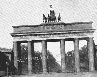 Brandenburg Gate Berlin Germany 1890 Rotogravure Photo Victorian Era Architecture Illustration To Frame