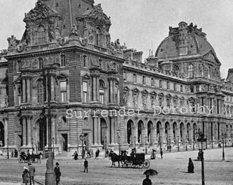 Louvre Museum Paris France 1890 Rotogravure Black & White Victorian Photo Illustration To Frame