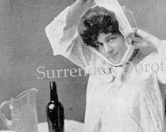 Double Chin Vinegar Bandage Weird Beauty Tips For Women 1908 Edwardian Rotogravure To Frame Black & White Photo Print