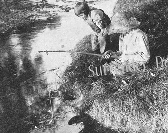 Best Friends Playing Hookie Fishing  Armstrong Roberts 1927 Vintage Photo Illustration To Frame