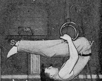 Vintage Gymnastic Illustrations Bird's Nest Tricks With Rings Roaring Twenties Black & White