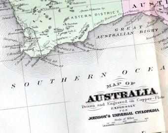 Australia Map 1896 Vintage Victorian Original Antique Copper Engraving CartographyTo Frame