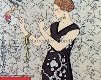 Smoke Evening Gown Vintage Belle Epoque Fashions 1920s Era Lithograph To Frame