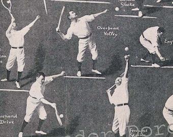 Tennis Guys Chart Rotogravure Men's Sports Illustration To Frame 1920s