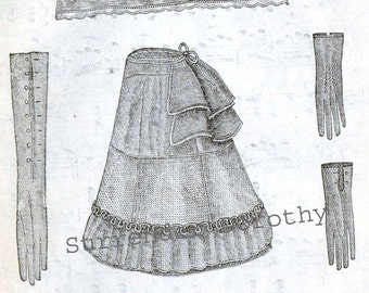 Crinoline Dress Bustle Kid Leather Gloves 1871 Victorian Ladies Corset Fashion Paris France Illustration to Frame Black & White