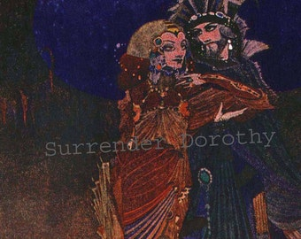Colloquy of Monos & Una Harry Clarke 1933 Edgar Allan Poe Vintage Lithograph To Frame