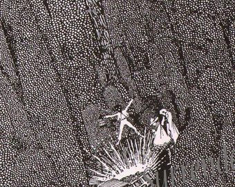 Gold Bug Harry Clarke Edgar Allan Poe Original 1933 Vintage Horror Illustration To Frame Black & White