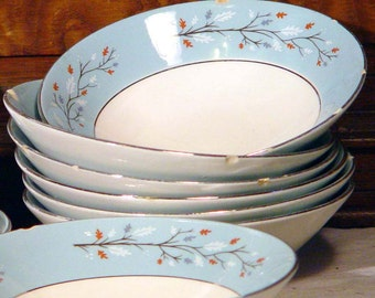 Lynnwood Desert or Cereal Bowls Set Of Ten Century Service Corp Platinum Trim  AS IS Mid Century China 1950s 1960s