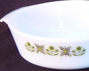 Fire King Green Meadow Milk Glass Casserole Mid Century Vintage Kitchen Bake Ware