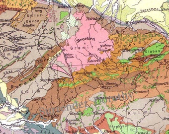 Germany Geological Map Vintage Edwardian Era Geology 1906 Steel Engraved Cartography To Frame