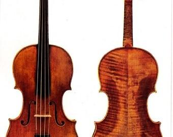 Antique Stradivarius Violins 1927 Original Vintage Seven Color Antique Lithograph Proof  To Frame