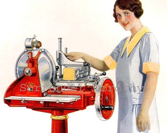 Deli Girl With Red Slicer Machine 1920s Vintage Four Color Antique Lithograph Proof  To Frame