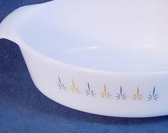 Fire King Candle Glow Casserole One & Half Quarts Vintage Classic Mid Century Bakeware 1960s USA