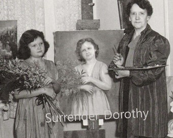 Portrait Artist Mother Daughter Vintage Photo Illustration 1940s Black and White Classic Print To Frame