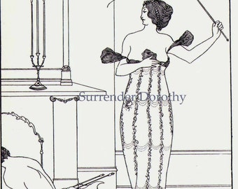 Earl Lavender Flogged By His Mistress Aubrey Beardsley Frontpiece Design For John Davidson's Novel 1885 Victorian Print To Frame