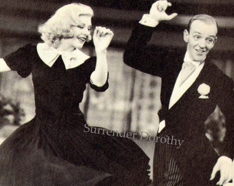 Fred Astaire Ginger Rogers Swing Time Dance Vintage Photo Illustration 1930s Black & White Classic Publicity Print To Frame