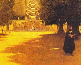 Torlonia Maxfield Parrish for Edith Wharton's Italian Villas and Their Gardens Edwardian 1903 Art Nouveau Poster Print To Frame