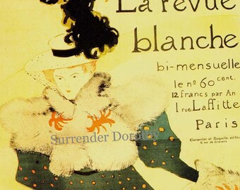Toulouse Lautrec La Revue Blanche Paris France Victorian Advertisement 1892 Lithograph Poster To Frame