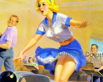 Blonde Bowler Loses Her Panties Vintage Pinup Girl Poster Print To Frame Mid Century Cheesecake 1950s By Art Frahm