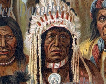 Native American Indian People North & South America 1907 Vintage Edwardian Era Antique Chromolithograph Print