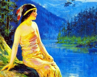 Waiting Indian Maiden F P Harper 1930s Native American Pinup Girl Vintage Man-Cave Poster Print To Frame