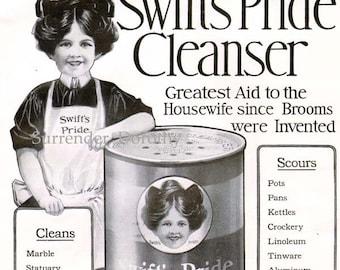 Swift's Pride Cleanser 1910 Large Edwardian Advertisement Vintage Kitchen Illustration To Frame