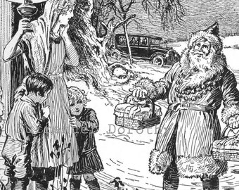 Santa Arrives Model T Ford Vintage Children's Christmas Illustration For Framing 1927 Original