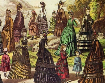 Butterick Lady's New York Fashions & Watson Train Vintage Lithograph 1873 Victorian Era Advertisement Poster To Frame
