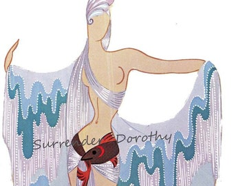 Water Costume For Bal Tabrin 1937  By Erte' Theatrical Costume Fashion Illustration To Frame