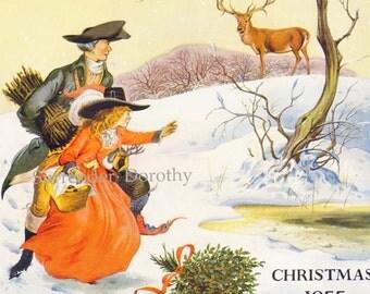 Christmas Morning Pauline Baynes Vintage 1955 Christmas Holiday Advertisement The Sphere