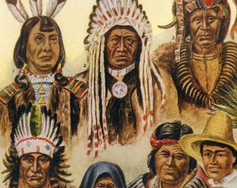 Native American Indian USA First People Vintage Chart Print Natural History Illustration 1915