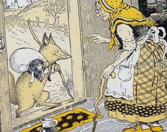 Big Bad Wolf & Red Ridinghood's Granny Harrison Cady Vintage 1920s Original Children's Art Lithograph To Frame