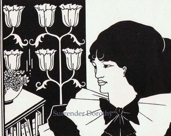 Young Woman Aubrey Beardsley Cover Design Yellow Book 1894 Vintage Victorian Fashion To Frame