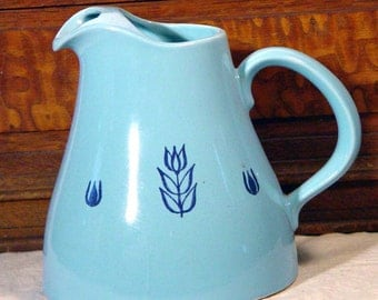 Cronin Pottery Blue Tulip Juice Pitcher 1960s Vintage Tableware