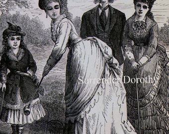 Croquet Party Women & Men Victorian Fashion Sport 1879 Original Antique Engraving To Frame