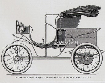 Daimler Steam & Electric Cars Automobiles Engineering Chart Edwardian Germany For Framing 1906