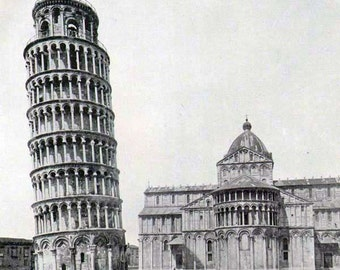 Leaning Tower Pisa Italy Romanesque Architecture 1890 Victorian Era Rotogravure Illustration to Frame