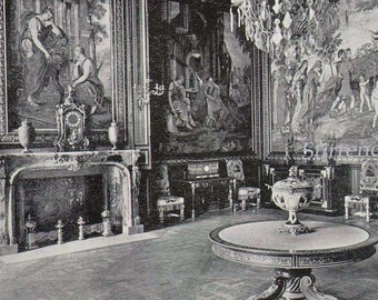 Fontainbleau Palace Apartment Of Tapestries France 1890 Rotogravure Black & White Victorian Photo Illustration To Frame