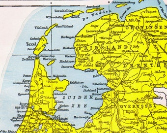 Holland Netherlands Map Antique Copper Engraving European Cartography 1892 Vintage Victorian Geography To Frame