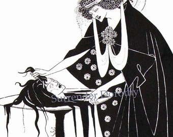 Dancer's Reward From Solome Oscar Wilde Creepy Vintage Drawing Aubrey Beardsley 1891