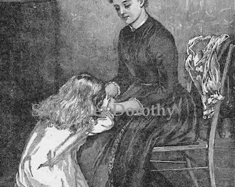 Bedtime Prayer Mother & Daughter 1892 Vintage Victorian Era Family Engraving To Frame