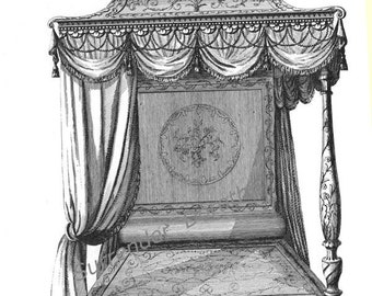 Canopy Bed Thomas Sheraton Technical Drawing Vintage Plans To Frame For Your Bedchamber