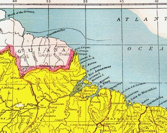 Brazil Map Antique Copper Engraving South America Vintage Cartography 1892 Victorian Geography Art To Frame
