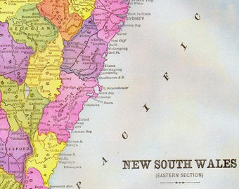 New South Wales Australia Map Antique Copper Engraving Vintage Cartography 1892 Victorian Geography Art To Frame