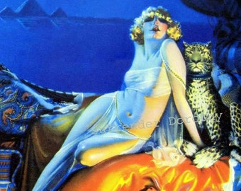 Cleopatra Blond Bombshell Sultry Nudie Vintage Pinup Poster Print 1920s Rolf Armstrong Classic Cheesecake Man-Cave Art