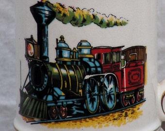 Steam Locomotive Mustache Mug Beer Stein Train Railroad 1970s Retro Vintage Bar Ware