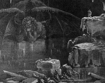 Lucifer King Of Hell Frozen In Ice Dante Inferno Canto 34 Gustave Dore Hell  Gothic Vintage Engraving To Frame