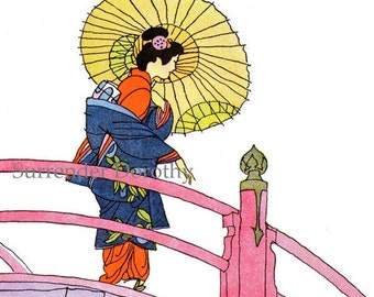 Geisha Lady Crossing Bridge Japan Vintage Children's Print & Verse Fashion Lithograph To Frame