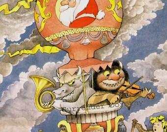 Wild Thing Hanukkah Christmas Pagent Maurice Sendak Vintage Hot Air Balloon Children's Nursery Poster To Frame